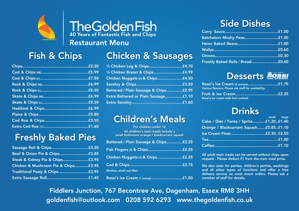 Restaurant menu the golden fish for Fish grill menu