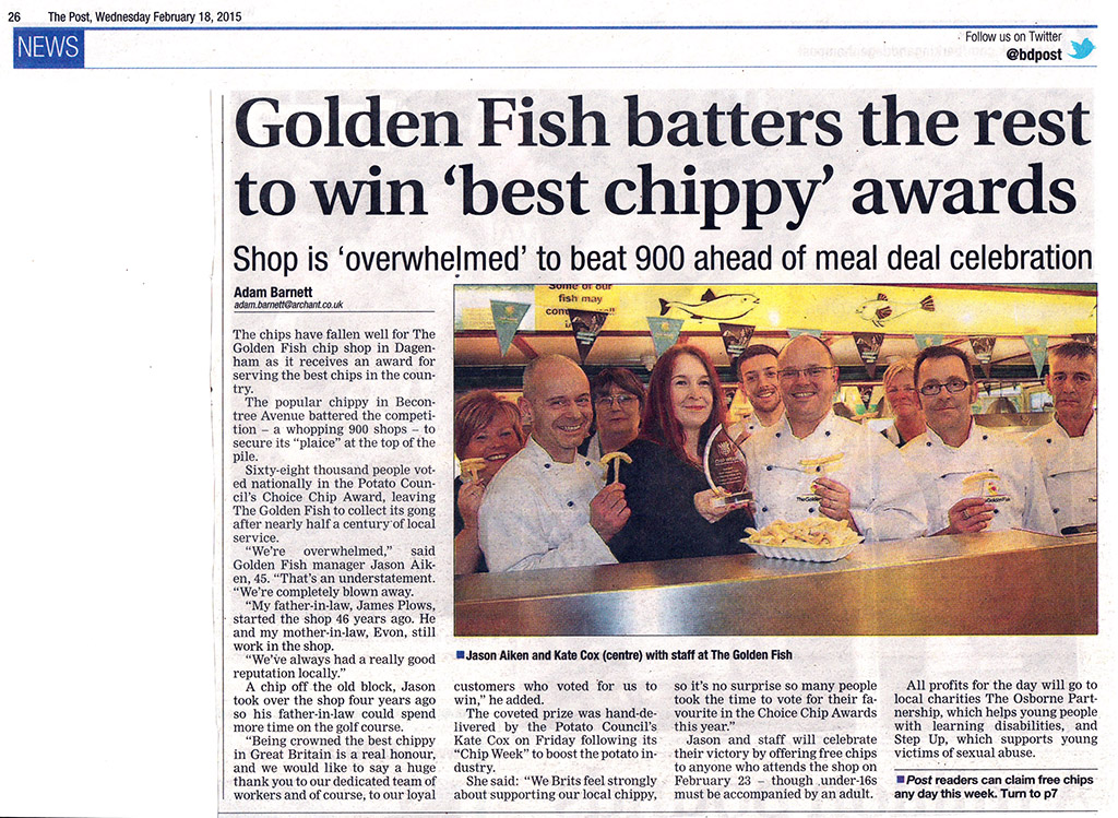 BD Post Golden Fish Batters the Rest To Win 'Best Chippy' Awards