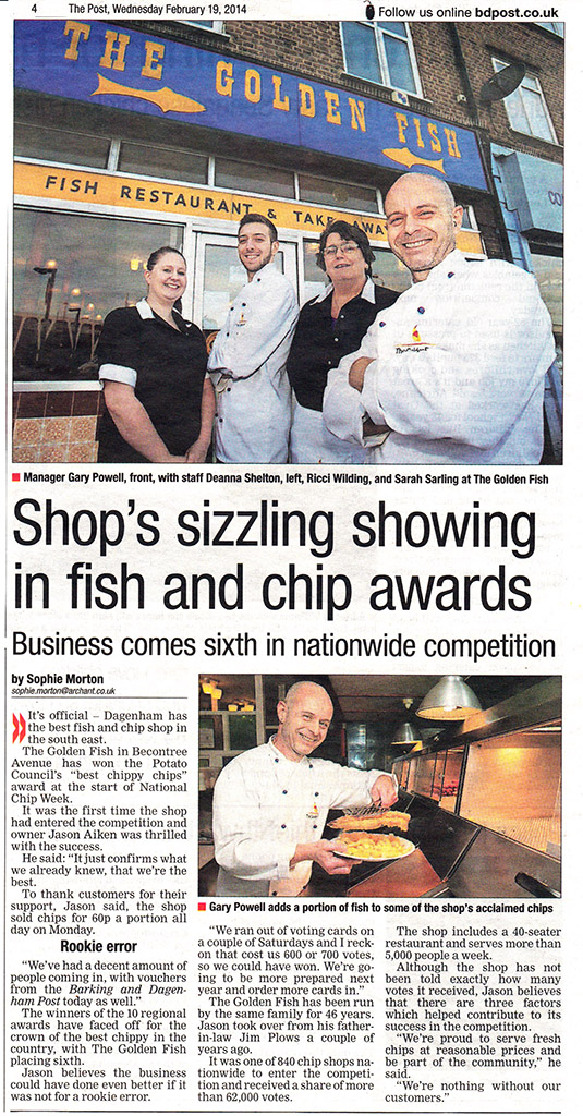 BD Post Shop's Sizzling Showing in Fish and Chip Awards