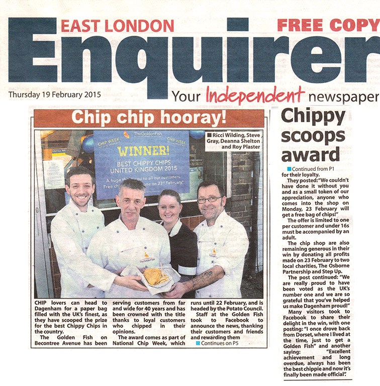 East London Enquirer Chip Chip Hooray! Chippy Scoops Award